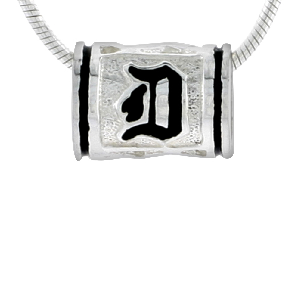 Sterling Silver Hawaiian Charm Bead Initial D Charm Bracelet Compatible, 1/2 inch wide
