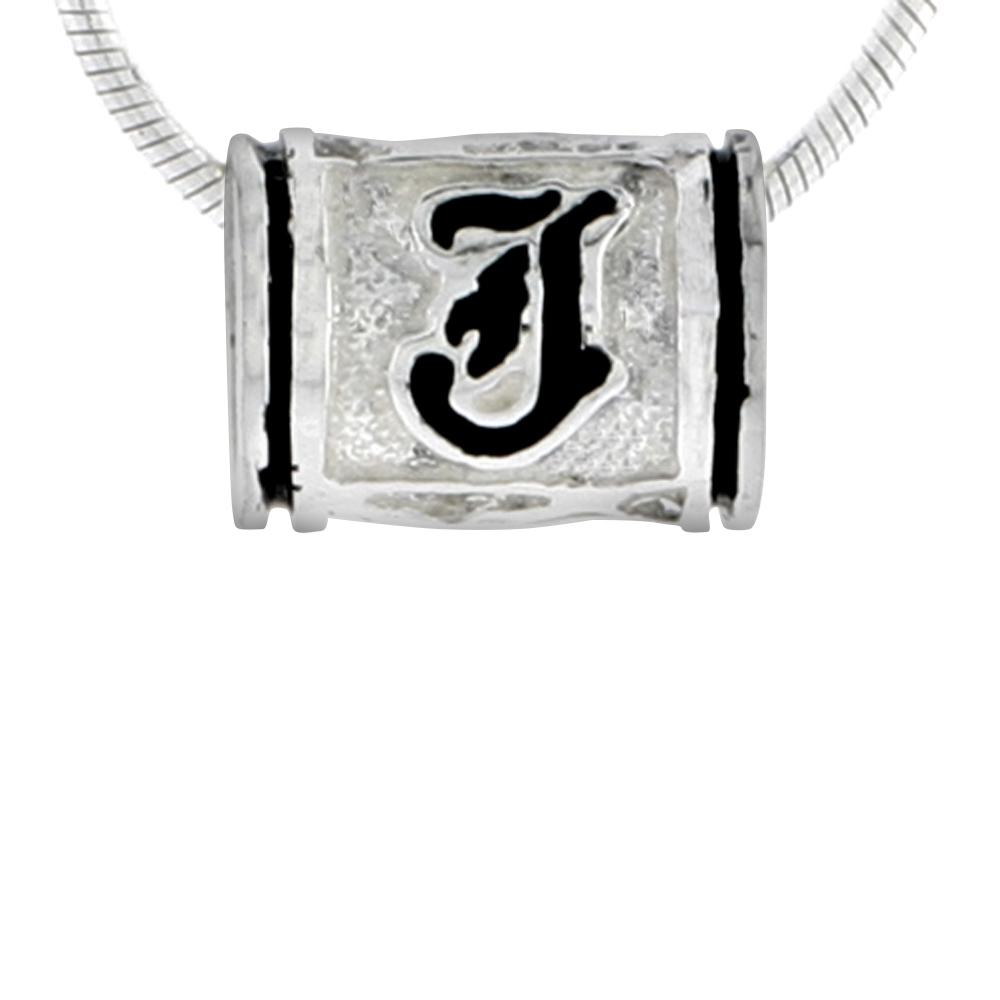 Sterling Silver Hawaiian Charm Bead Initial J Charm Bracelet Compatible, 1/2 inch wide