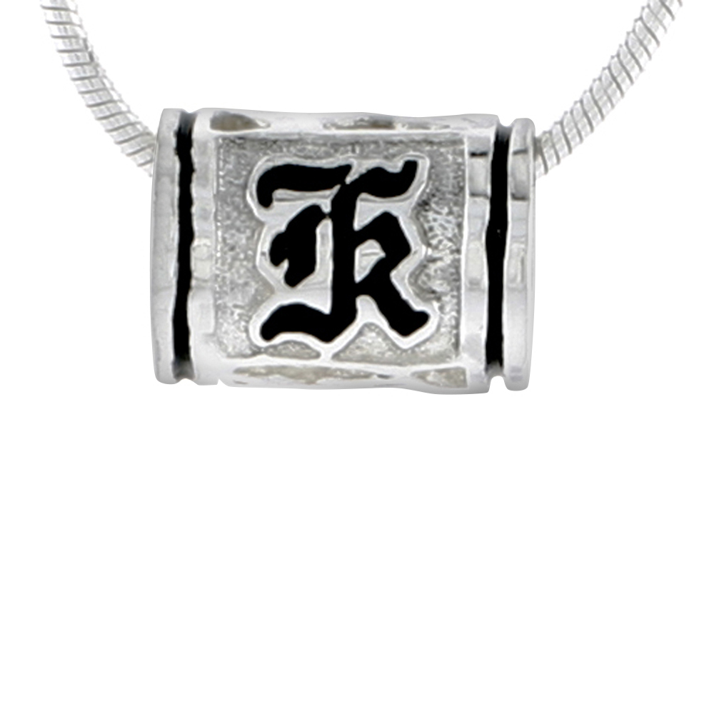 Sterling Silver Hawaiian Charm Bead Initial K Charm Bracelet Compatible, 1/2 inch wide