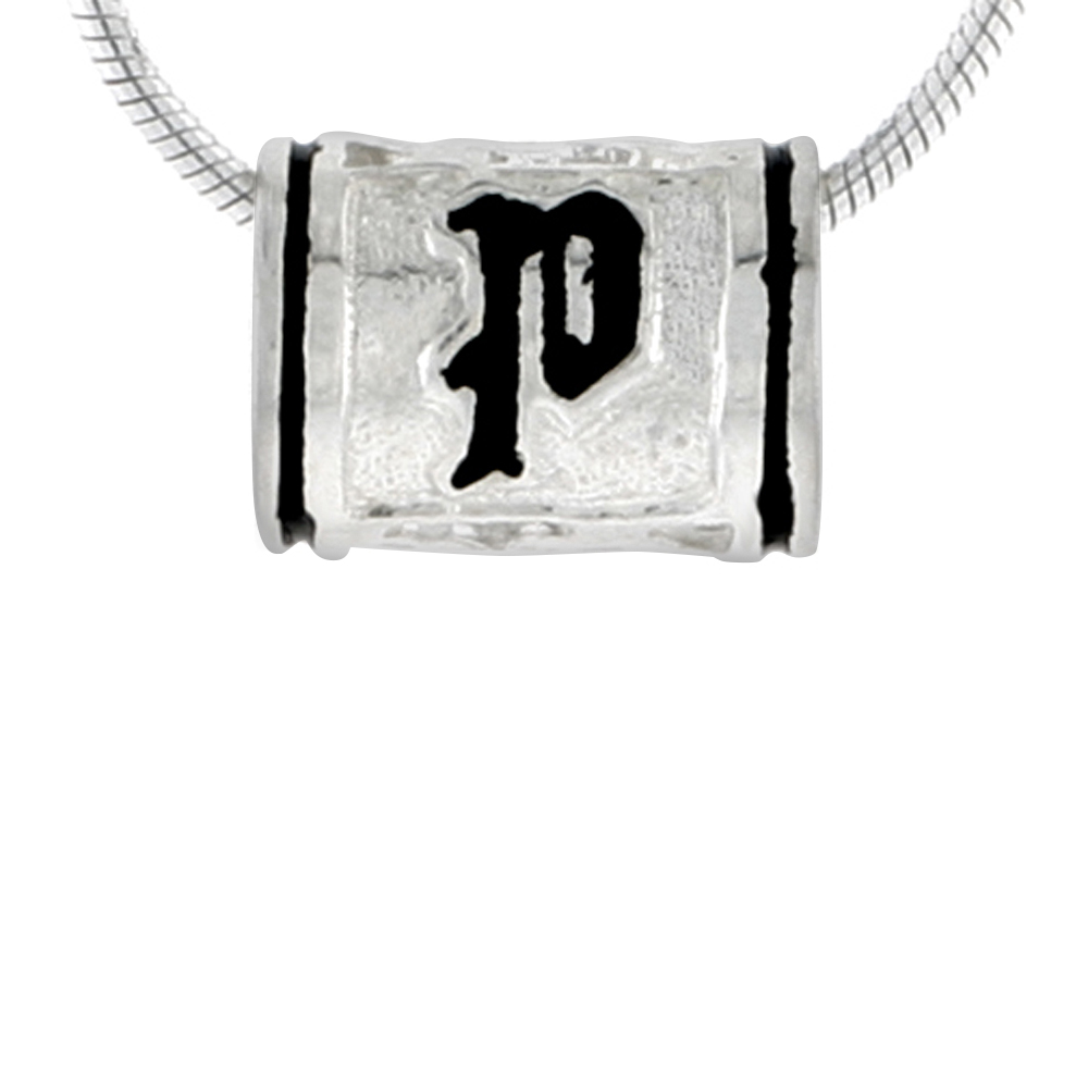 Sterling Silver Hawaiian Charm Bead Initial P Charm Bracelet Compatible, 1/2 inch wide