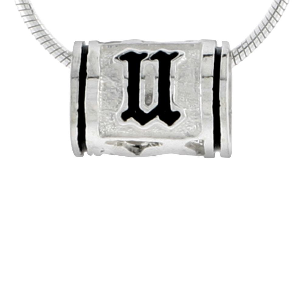Sterling Silver Hawaiian Charm Bead Initial U Charm Bracelet Compatible, 1/2 inch wide