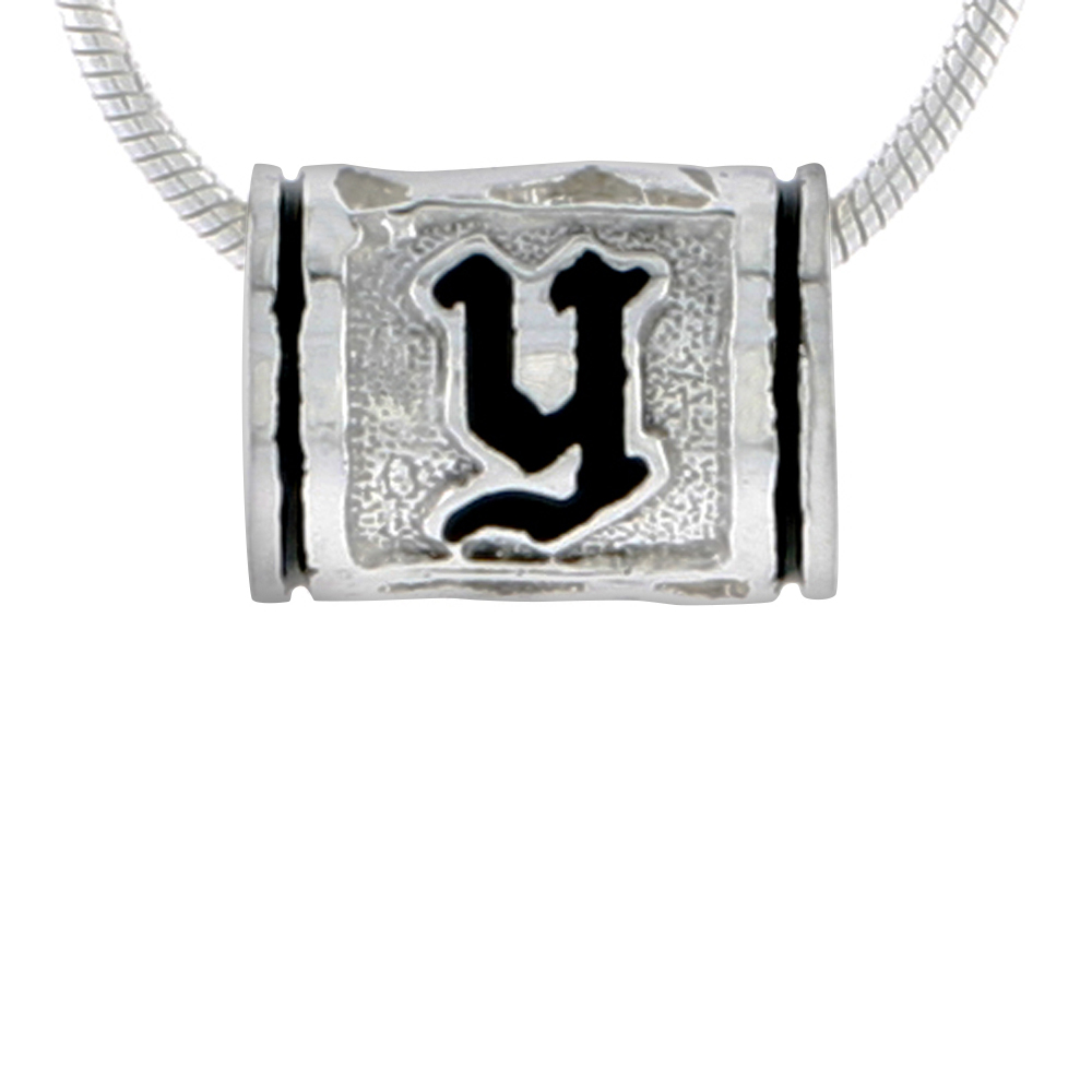 Sterling Silver Hawaiian Charm Bead Initial Y Charm Bracelet Compatible, 1/2 inch wide