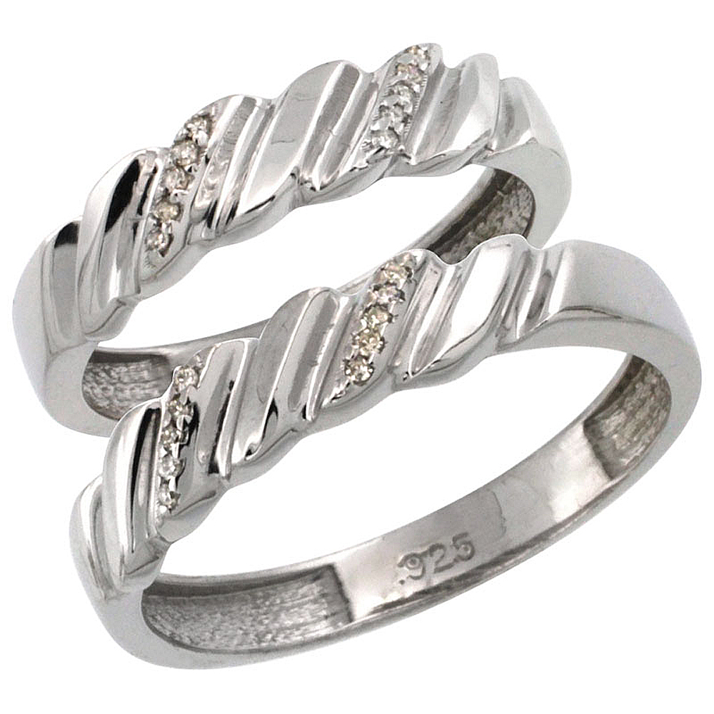 silver wedding ring diamond his and her black and white centerpiece ideas