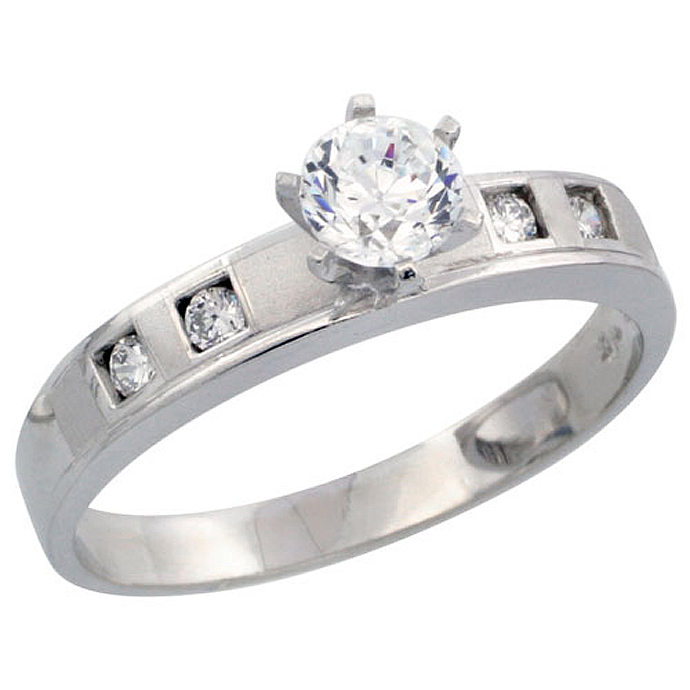 Sterling Silver Engagement Ring CZ Stones Rhodium Finish 5/32 in. 4 mm, sizes 5 to 10