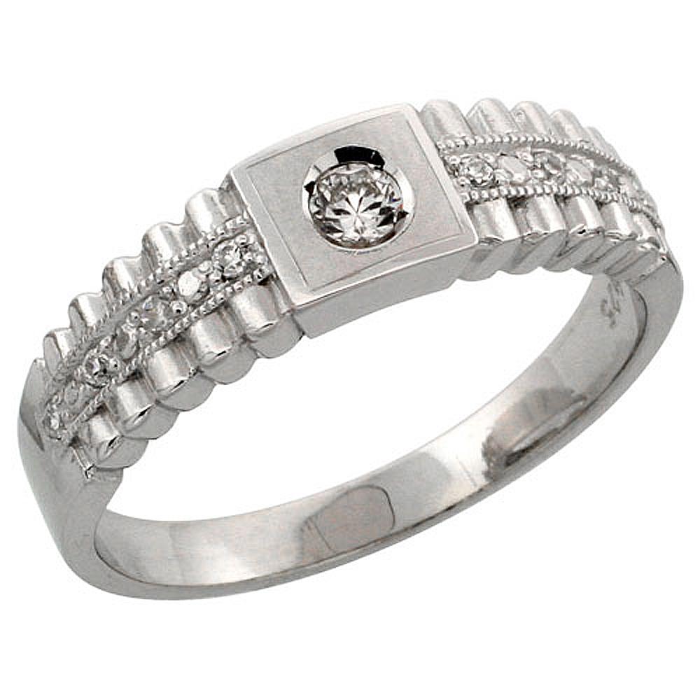 Sterling Silver Ladies\' Wedding Ring CZ Stones Rhodium Finish, 1/4 in. 6 mm, sizes 5 - 10