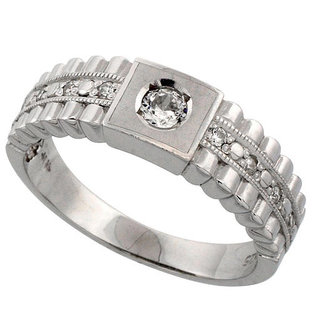 Sterling Silver Men\'s Wedding Ring CZ Stones Rhodium Finish, 1/4 in. 6.5 mm, sizes 8 - 14