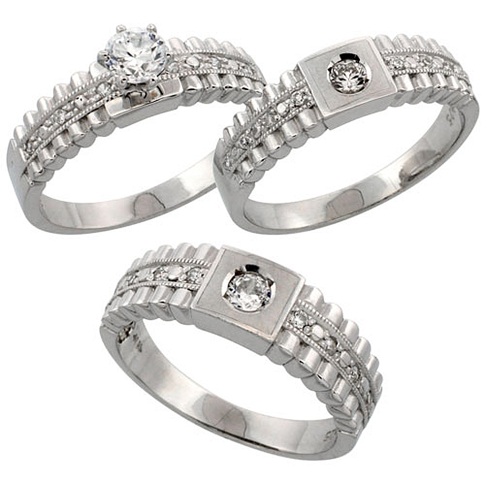 Sterling Silver 3-Piece His 6.5 mm & Hers 6 mm Trio Wedding Ring Set CZ Stones Rhodium Finish, Ladies sizes 5 - 10, Mens sizes 8 - 14