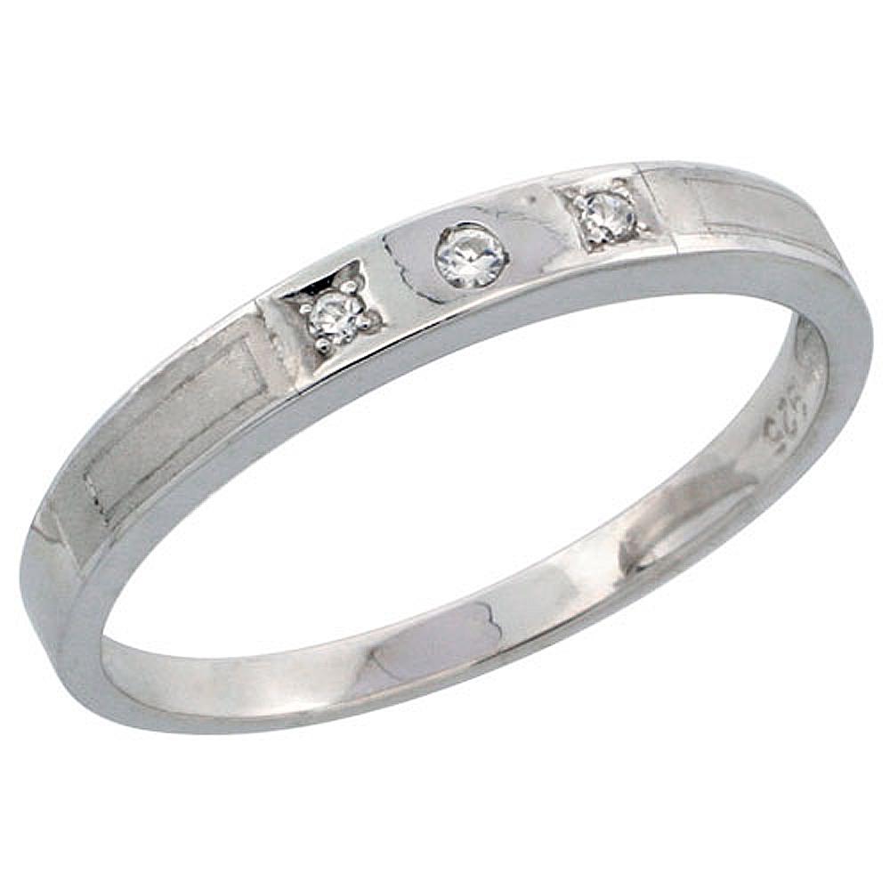 Sterling Silver Ladies\' Wedding Ring CZ Stones Rhodium Finish, 1/8 in. 3 mm, sizes 5 - 10