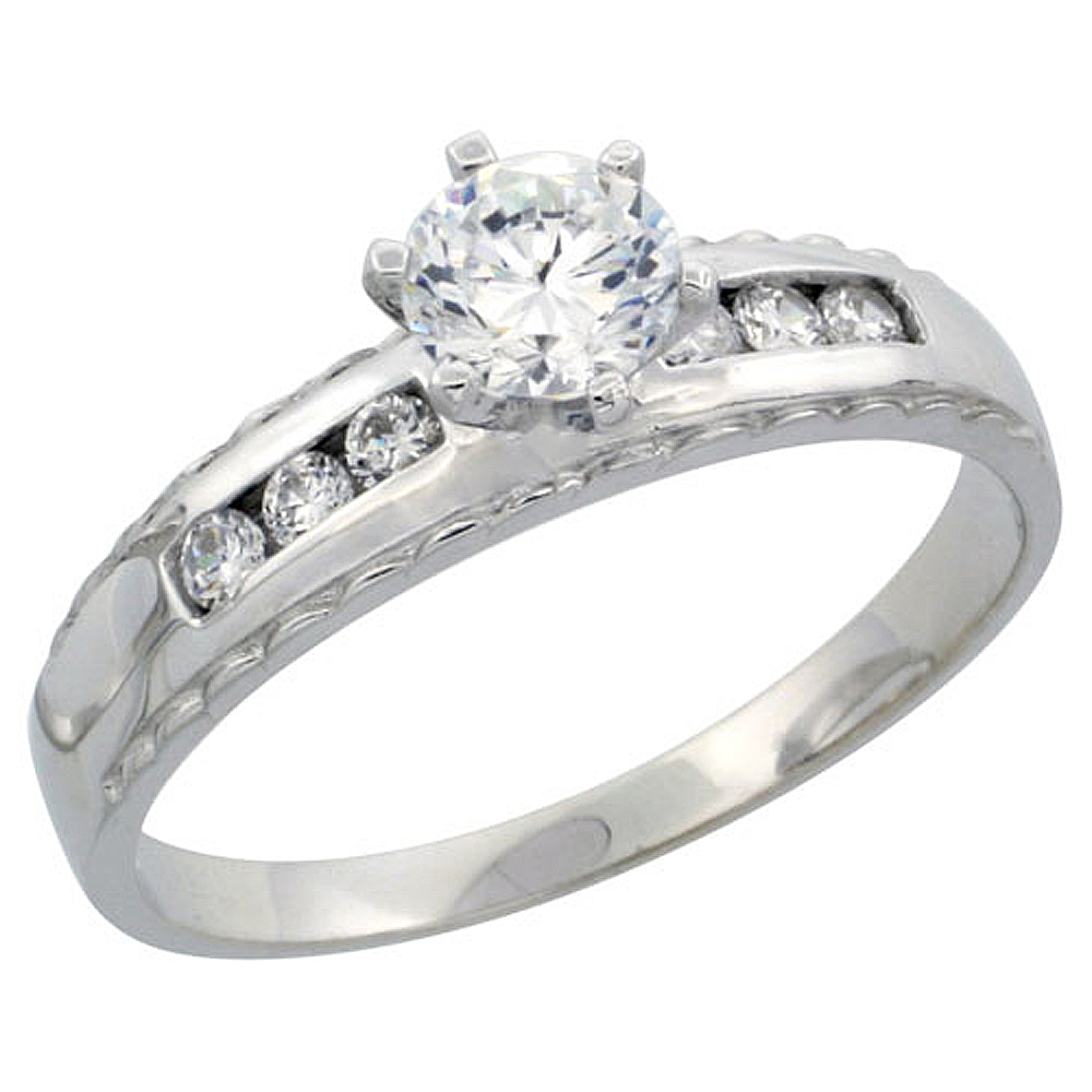 Sterling Silver Engagement Ring CZ Stones 3/16 in. 5 mm, sizes 5 to 10
