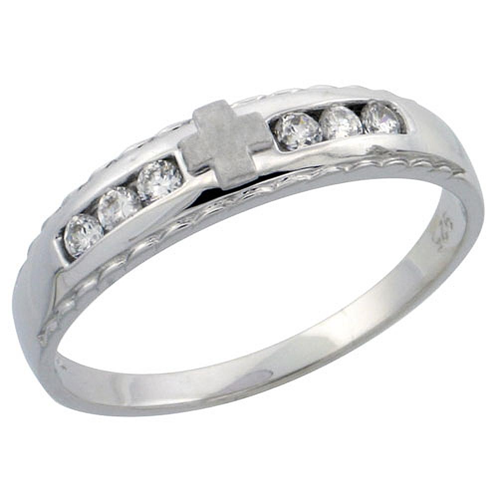 Sterling Silver Ladies\' Wedding Ring CZ Stones Rhodium Finish, 3/16 in. 5 mm,