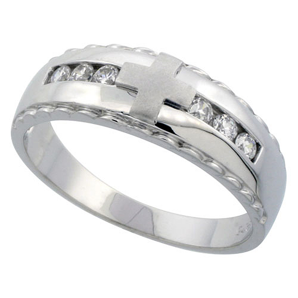Sterling Silver Men\'s Wedding Ring CZ Stones Rhodium Finish, 9/32 in. 7 mm,