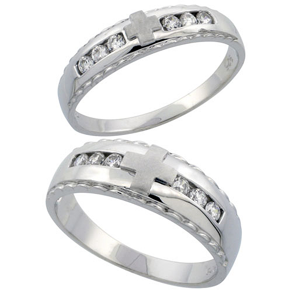 Sterling Silver 2-Piece His 7 mm & Hers 5 mm Wedding Ring Set CZ Stones Rhodium Finish, Ladies sizes 5 - 10, Mens sizes 8 - 14
