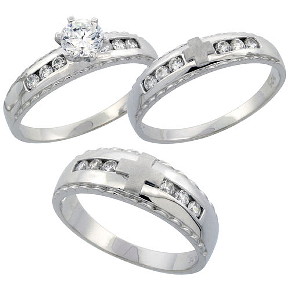 Sterling Silver 3-Piece His 7 mm & Hers 5 mm Trio Wedding Ring Set CZ Stones Rhodium Finish, Ladies sizes 5 - 10, Mens sizes 8 - 14