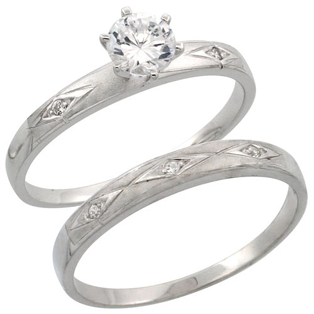 Sterling Silver 2-Piece Engagement Ring Set CZ Stones Rhodium finish, 3/16 in. 4.5 mm, sizes 5 - 10