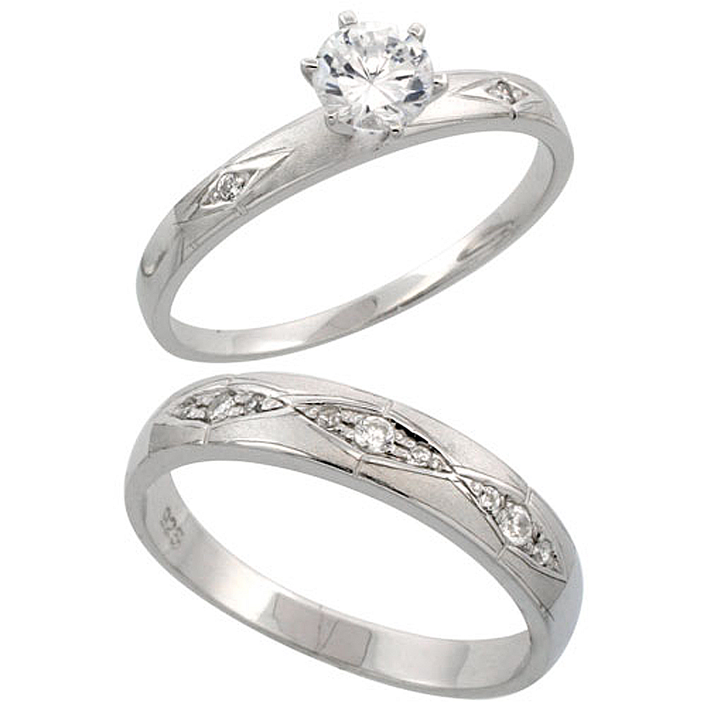 Sterling Silver 2-Piece CZ Ring Set 3mm Engagement Ring & 4.5mm Man\'s Wedding Band, Ladies sizes 5 - 10, Mens sizes 8 - 14