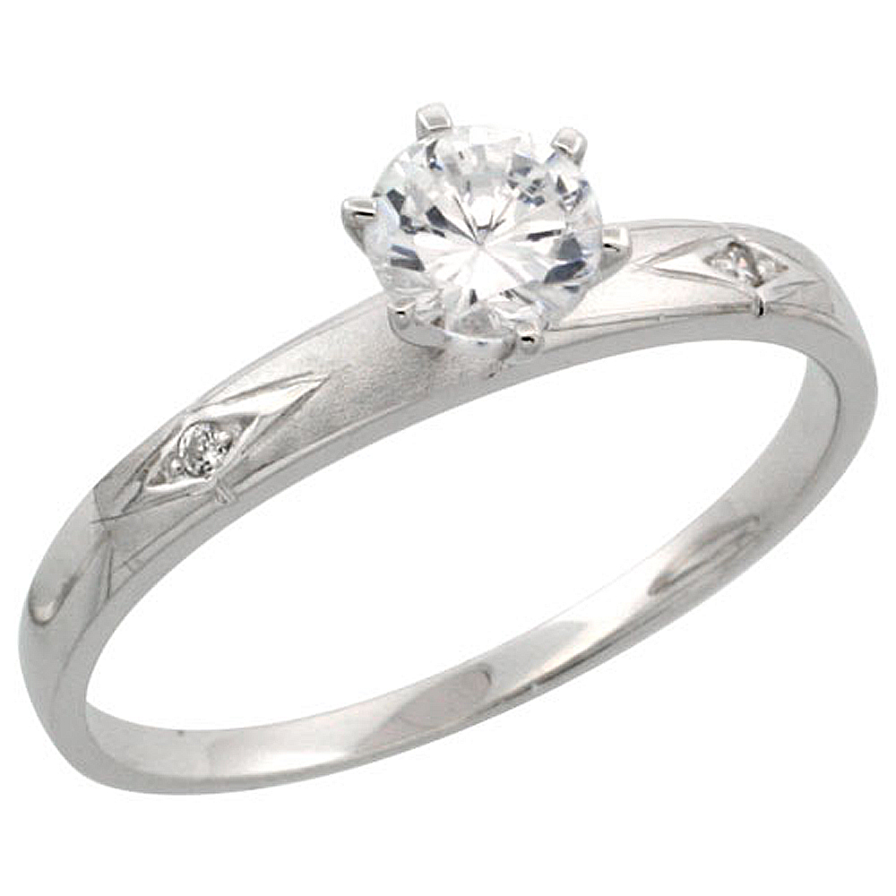Sterling Silver Engagement Ring CZ Stones 1/8 in. 3 mm, sizes 5 to 10
