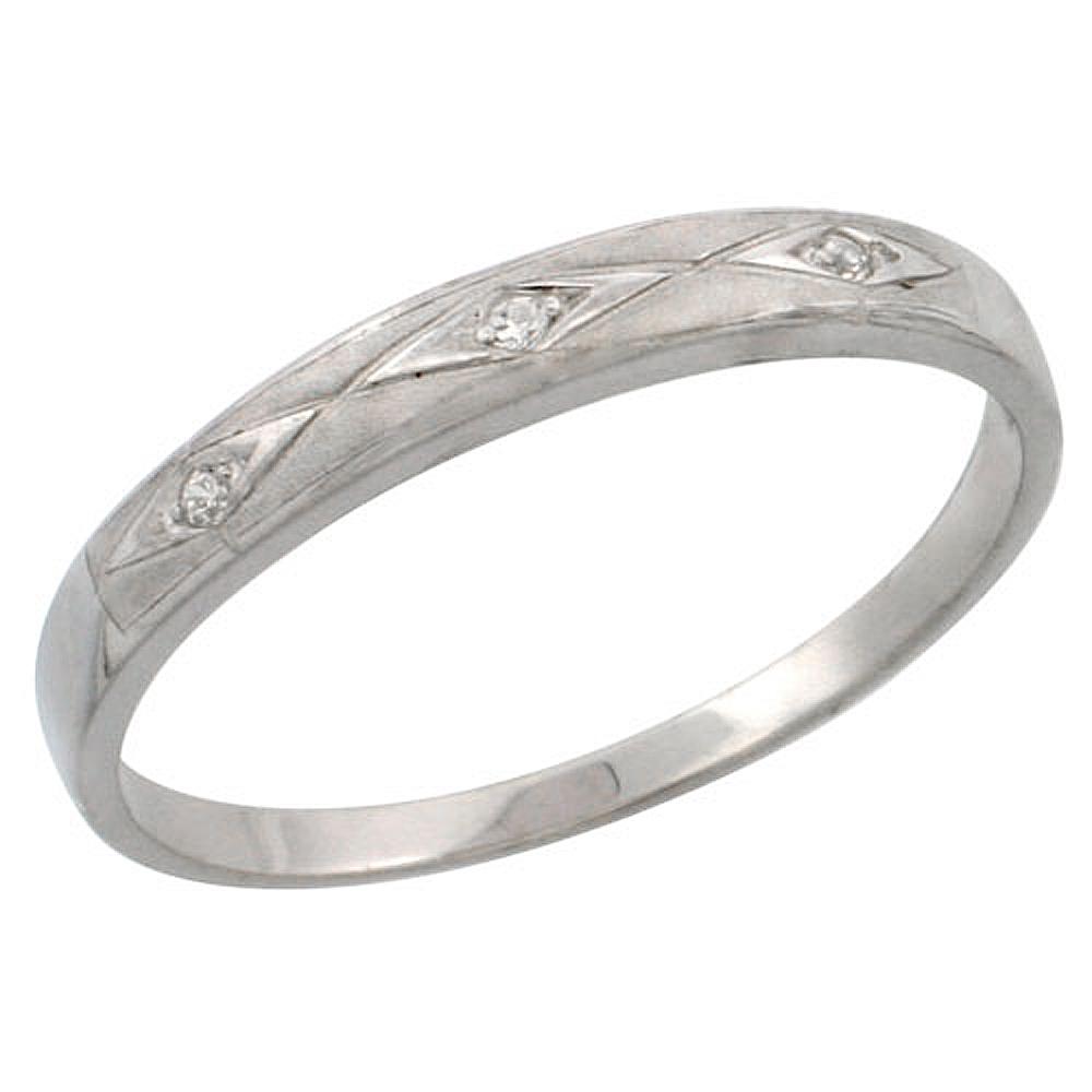 Sterling Silver Ladies\' Wedding Ring CZ Stones Rhodium Finish, 1/8 in. 3 mm,