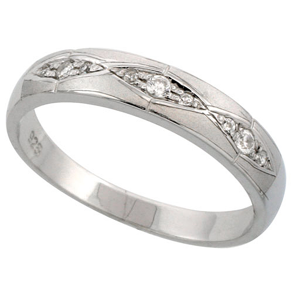 Sterling Silver Men\'s Wedding Ring CZ Stones Rhodium Finish, 3/16 in. 4.5 mm,