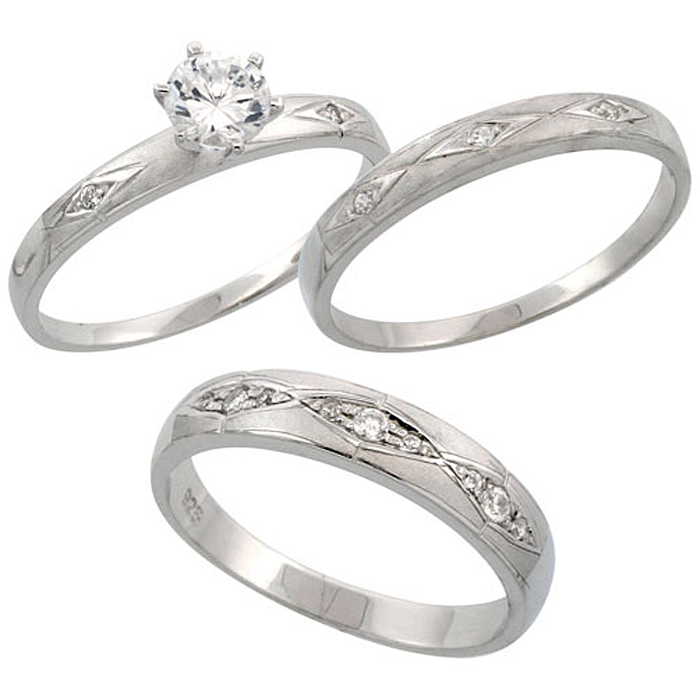 Sterling Silver 3-Piece His 4.5 mm & Hers 3 mm Trio Wedding Ring Set CZ Stones Rhodium Finish, Ladies sizes 5 - 10, Mens sizes 8 - 14