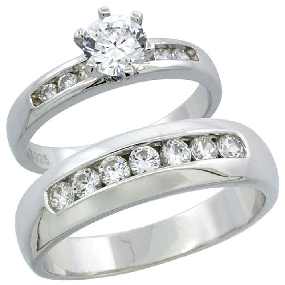 sterling silver cubic zirconia engagement rings set for him her classic channel set 6mm man - Cheap Wedding Rings Sets For Him And Her