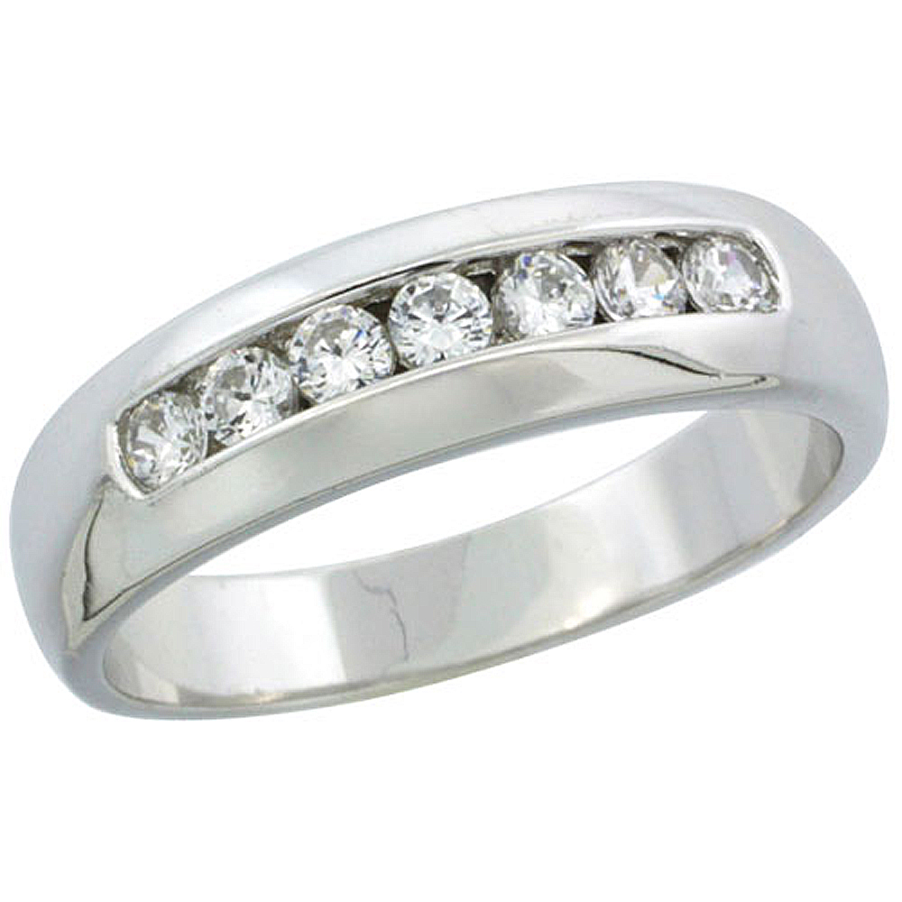 Sterling Silver Cubic Zirconia Mens Wedding Band Ring Classic Channel Set, 1/4 inch wide