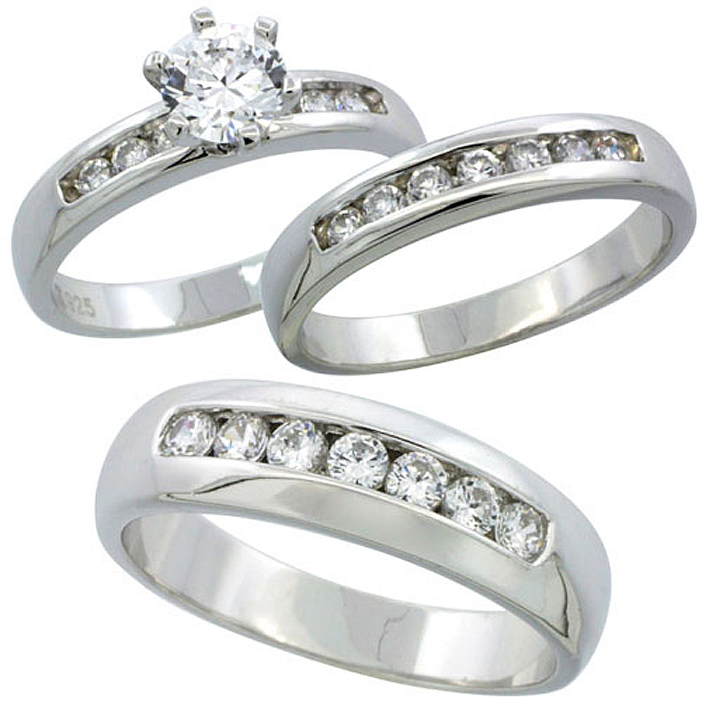 Sterling Silver Cubic Zirconia Trio Engagement Wedding Ring Set for Him and Her 6 mm Classic Channel Set, L 5 - 10 & M 8 - 14