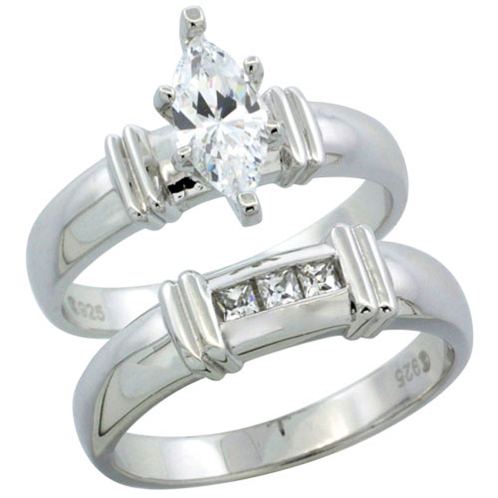 Sterling Silver Cubic Zirconia Ladies? Engagement Ring Set 2-Piece Channel Set Princess, 3/16 inch wide