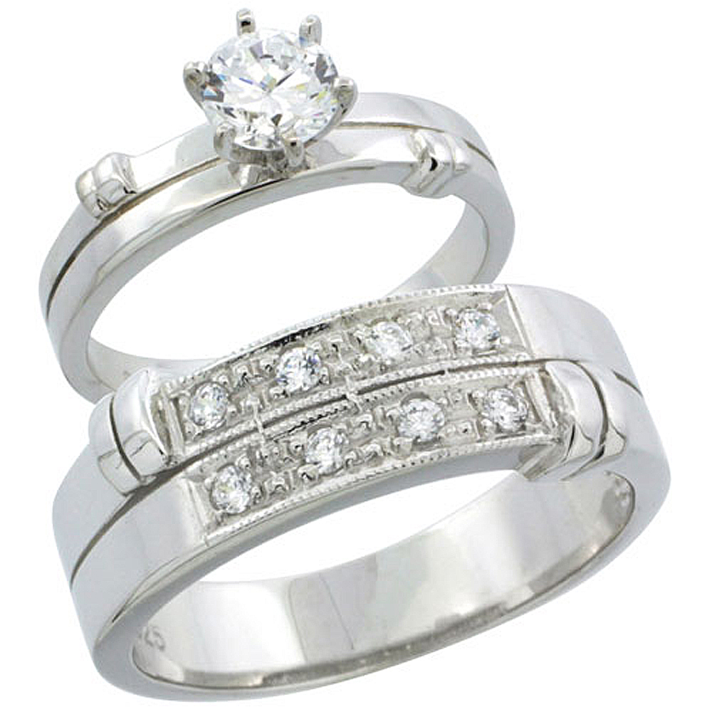 Sterling Silver Cubic Zirconia Engagement Rings Set for Him & Her 7mm Man\'s Wedding Band )