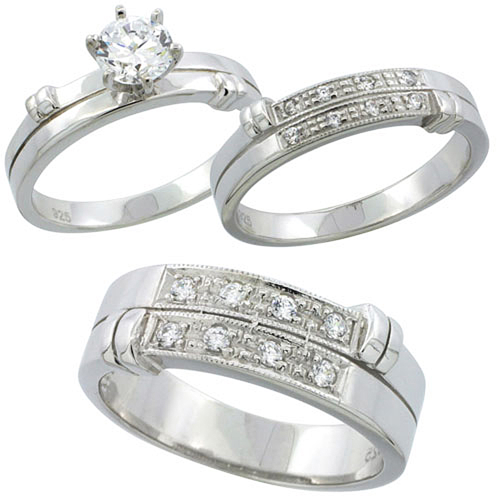 """Sabrina Silver Sterling Silver Cubic Zirconia Trio Engagement Wedding Ring Set for Him and Her 7 mm, Ladies"""" Size 9 at Sears.com"""