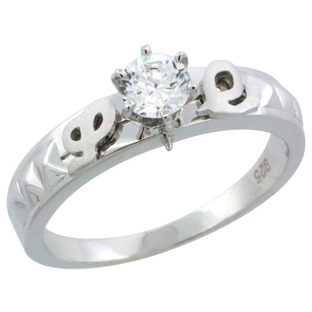 Sterling Silver Cubic Zirconia Solitaire Engagement Ring Set 1/2 ct size Brilliant cut, 3/16 inch wide