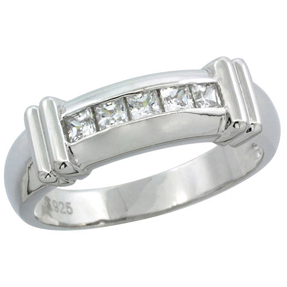Sterling Silver Cubic Zirconia Mens Wedding Band Ring Channel Set Princess, 1/4 inch wide