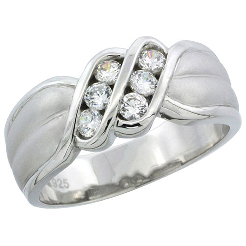 Sterling Silver Cubic Zirconia Mens Wedding Band Ring Channel Set, 5/16 inch wide
