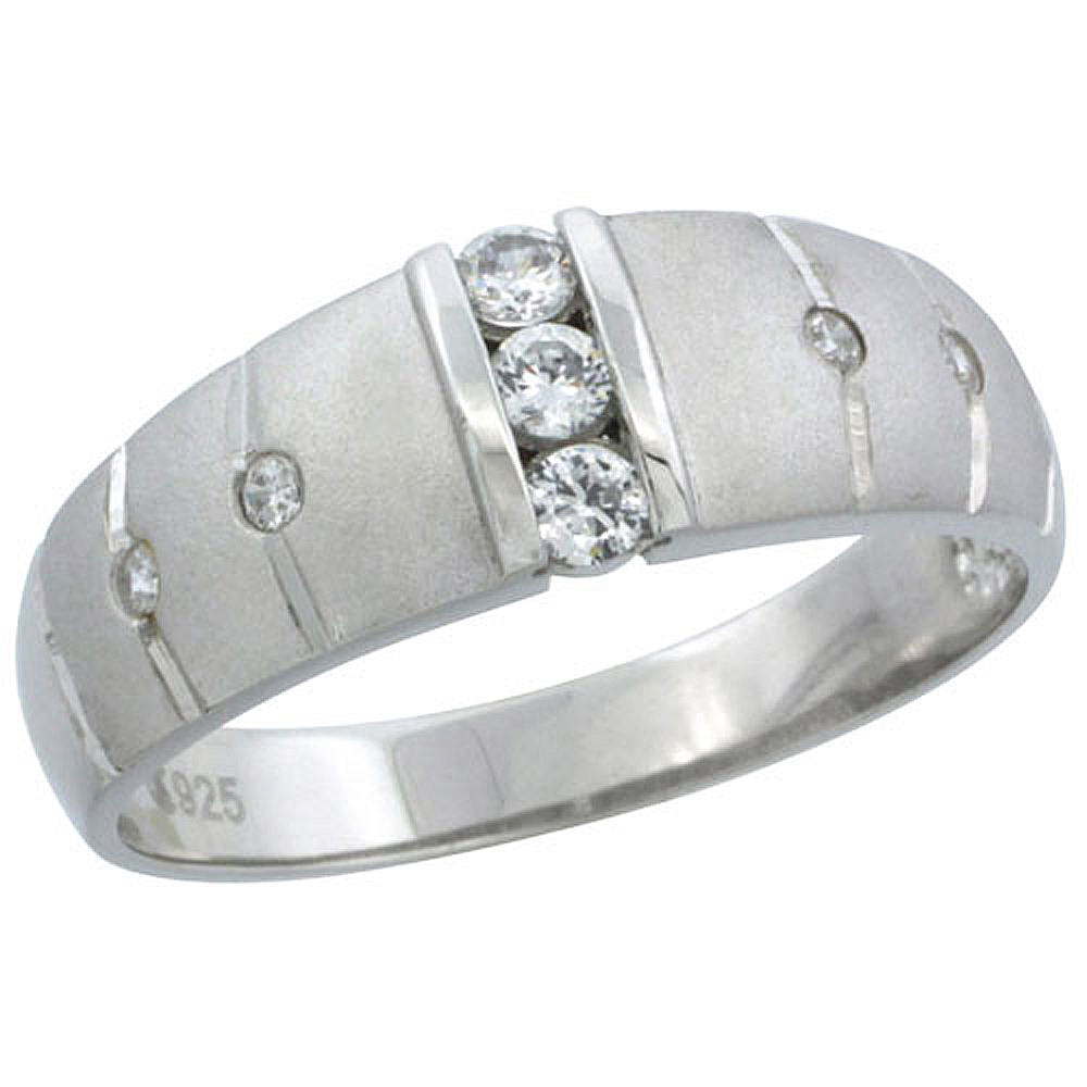 Sterling Silver Cubic Zirconia Mens Wedding Band Ring Classic Channel Set, 9/32 inch wide