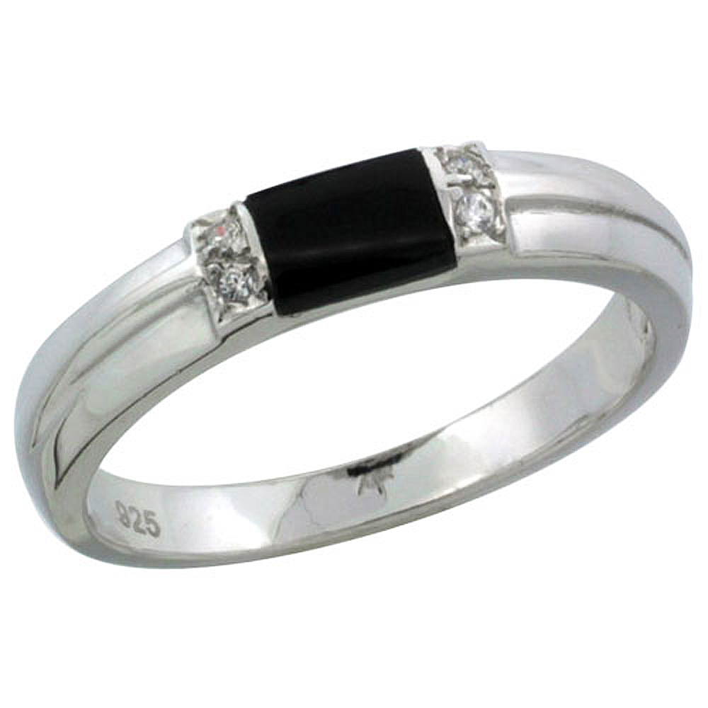 Sterling Silver Cubic Zirconia Ladies\' Wedding Band Ring Black Onyx, 1/8 inch wide