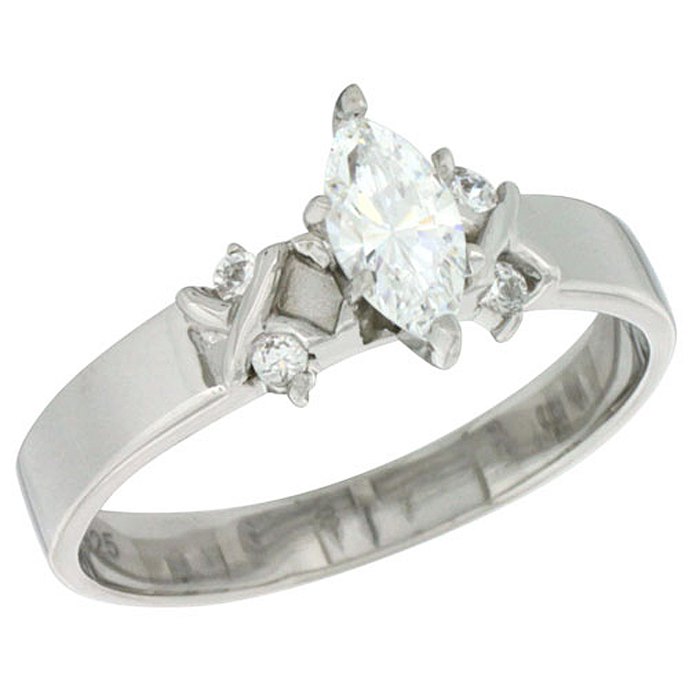 Sterling Silver Cubic Zirconia Engagement Ring 0.75 ct Marquise Cut 3/16 inch wide