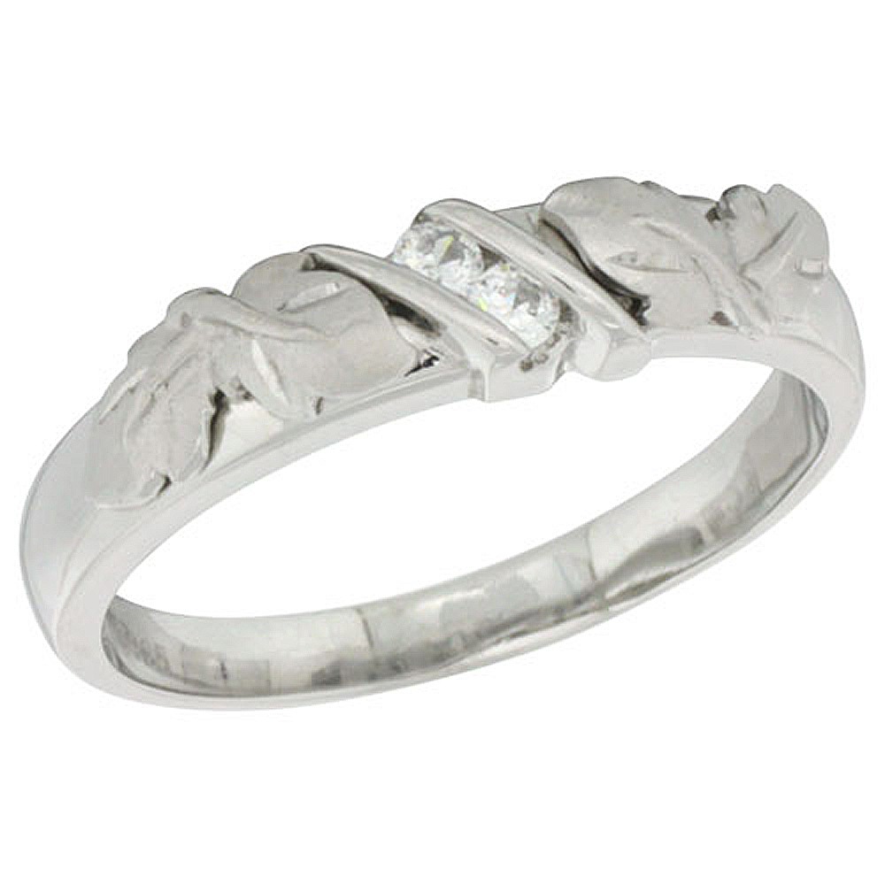 """Sabrina Silver Sterling Silver Cubic Zirconia Ladies"""" Wedding Band Ring, 3/16 inch wide at Sears.com"""