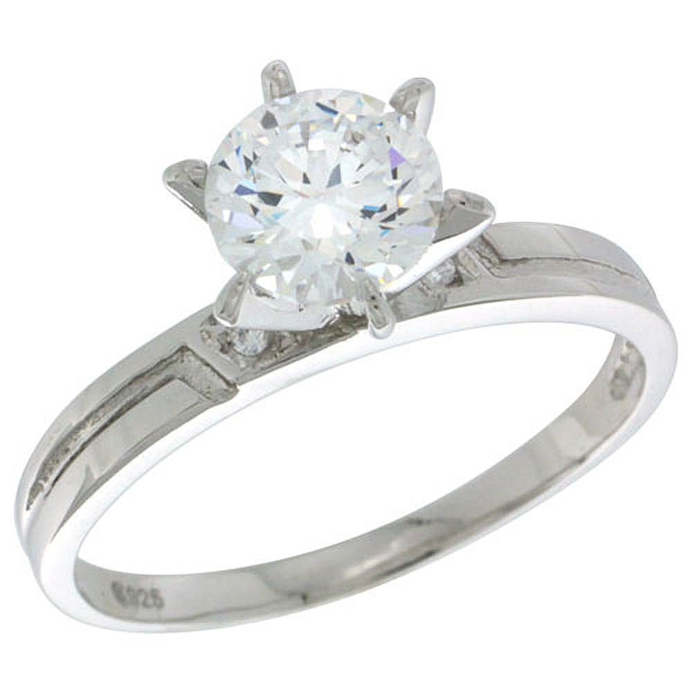 Sterling Silver Cubic Zirconia Solitaire Engagement Ring 3 ct size Brilliant Cut 5/32 inch