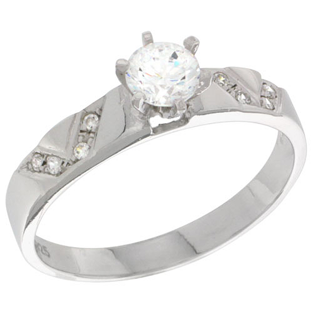 Sterling Silver Cubic Zirconia Solitaire Engagement Ring 0.85 ct size Brilliant Cut 1/8 inch wide