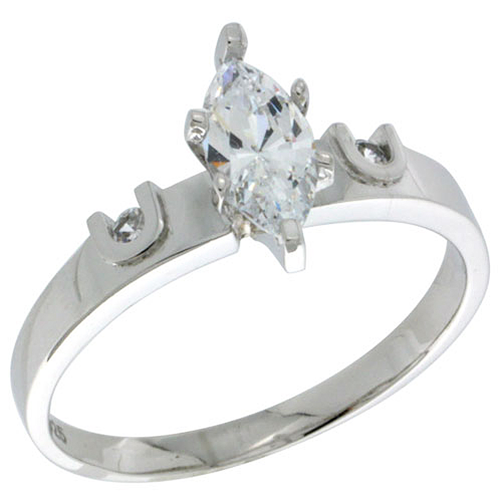 Sterling Silver Cubic Zirconia Engagement Ring 1.5 ct Marquise Cut 5/32 inch wide