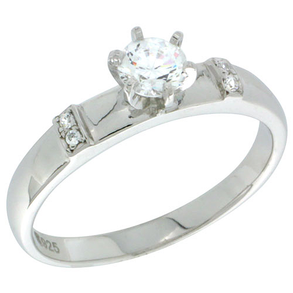 Sterling Silver Cubic Zirconia Solitaire Engagement Ring 0.65 ct size Brilliant Cut 5/32 inch wide