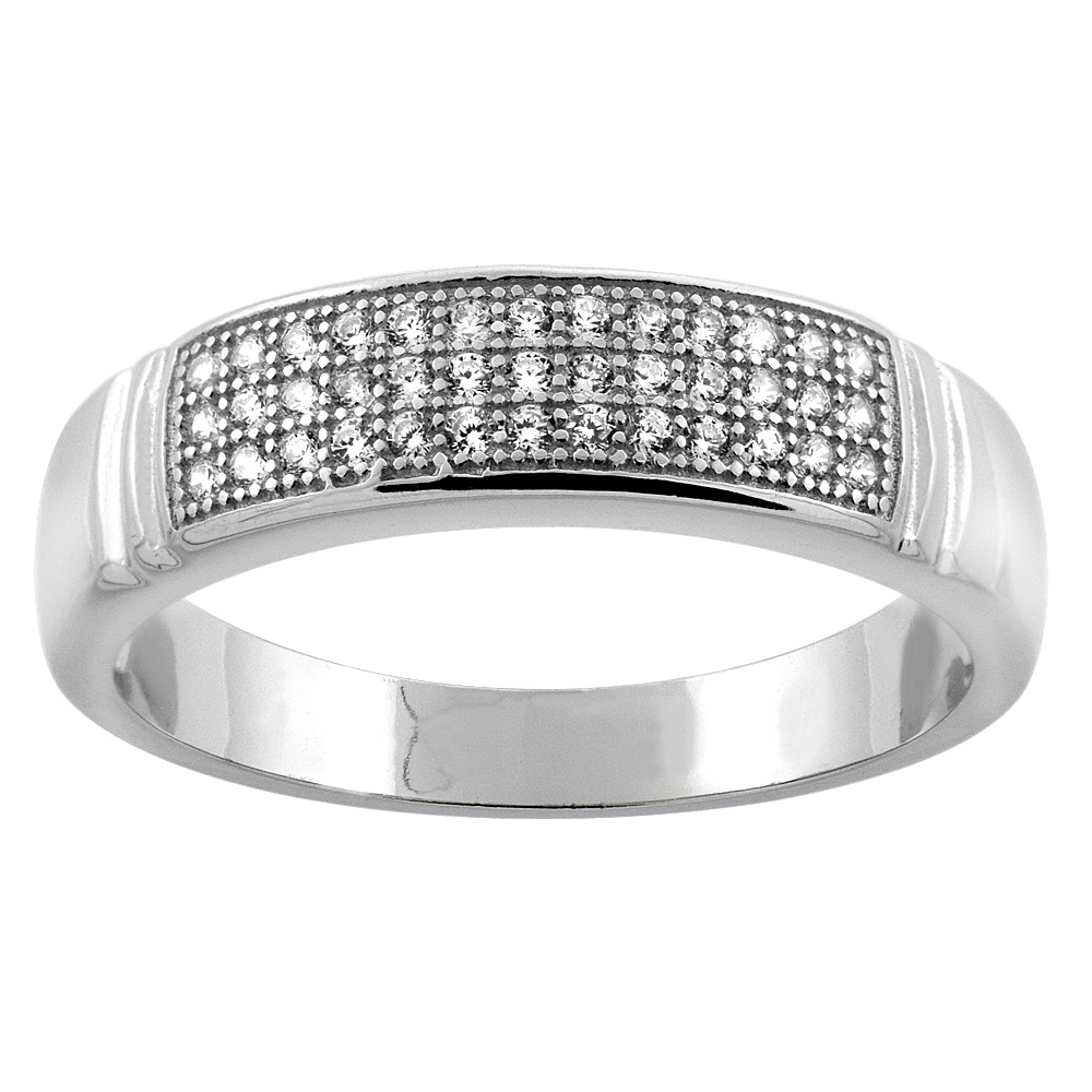 """Sabrina Silver Sterling Silver Micro Pave Cubic Zirconia Men""""s Wedding Band, 3/16 inch wide, sizes 8 to 14 at Sears.com"""