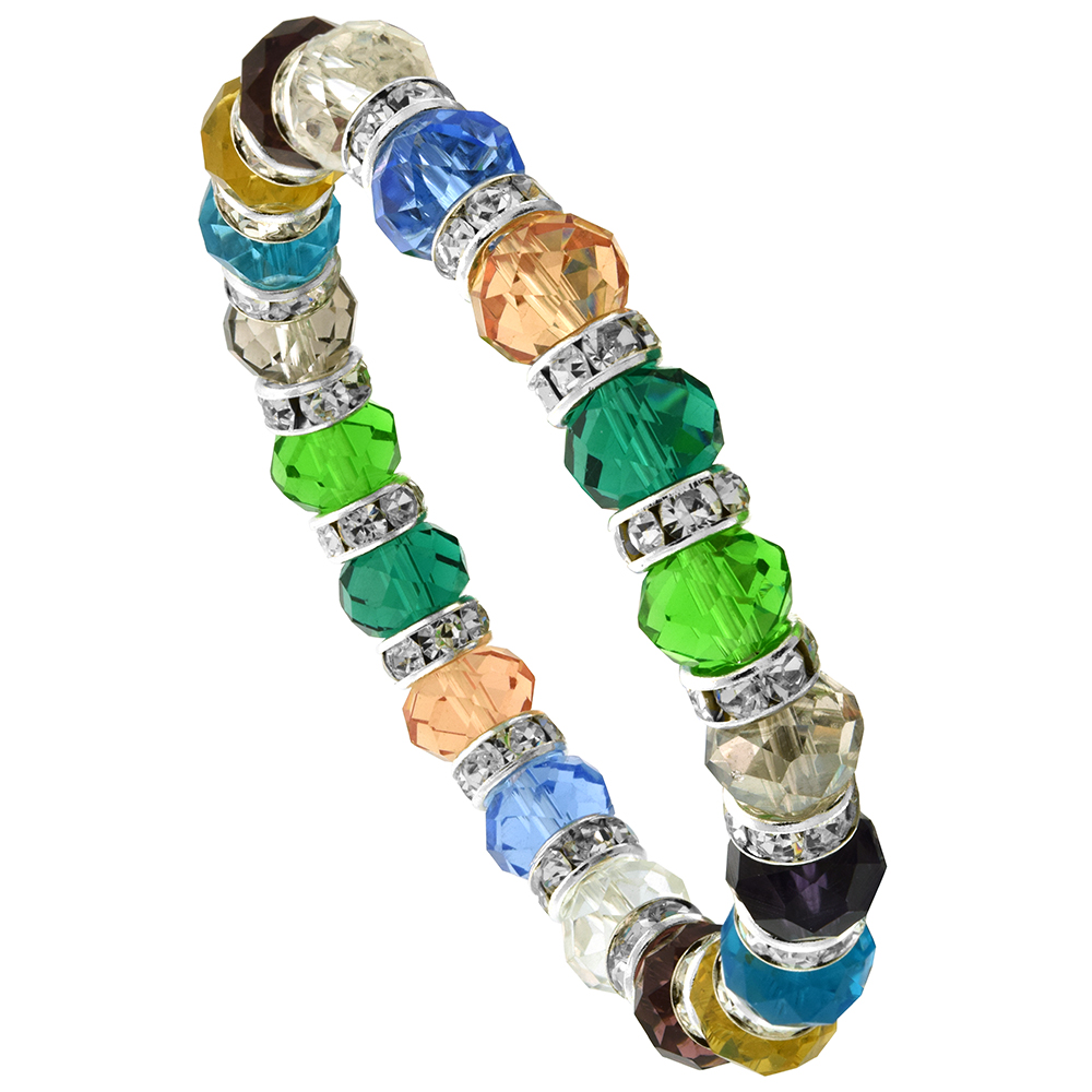 7 in. Multi Color Faceted Glass Crystal Bracelet on Elastic Nylon Strand ( Clear, Ruby, Citrine, Blue Topaz, Smoky Topaz, Peridot, Amethyst, Pink Tourmaline & Tanzanite Color ), 3/8 in. (10 mm) wide