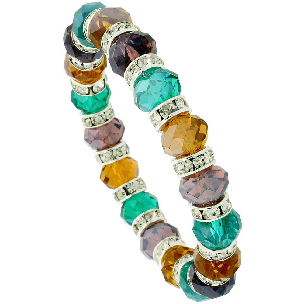7 in. Multi Color Faceted Glass Crystal Bracelet on Elastic Nylon Strand ( Emerald, Citrine & Amethyst Color ), 3/8 in. (10 mm) wide