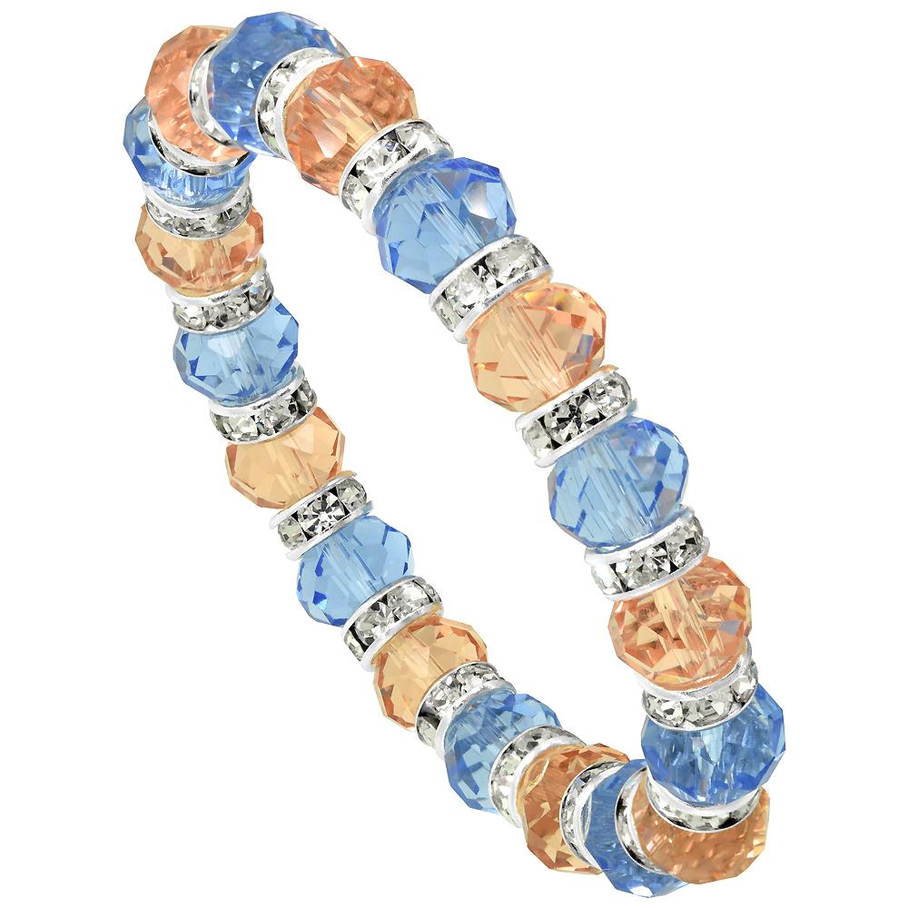 7 in. Multi Color Faceted Glass Crystal Bracelet on Elastic Nylon Strand ( Blue Topaz & Light Rose Champagne Color ), 3/8 in. (10 mm) wide