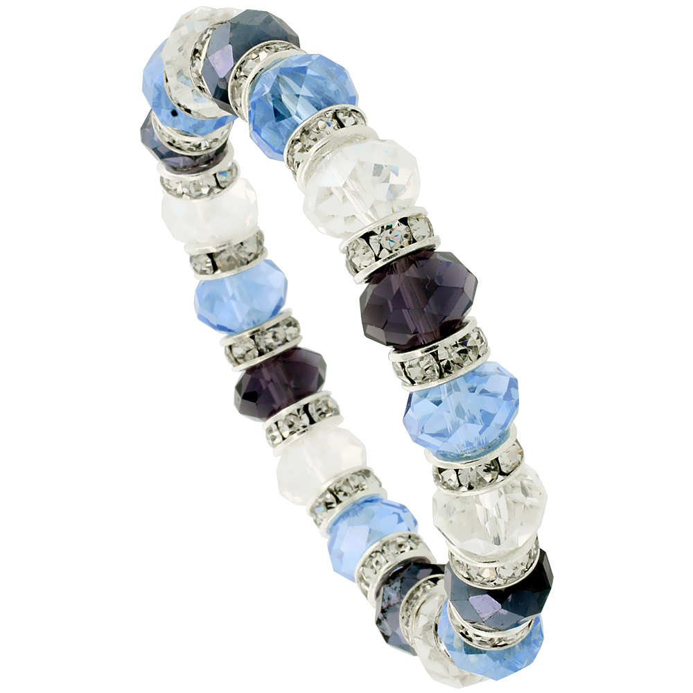 7 in. Multi Color Faceted Glass Crystal Bracelet on Elastic Nylon Strand ( Clear, Blue Topaz & Amethyst Color ), 3/8 in. (10 mm) wide