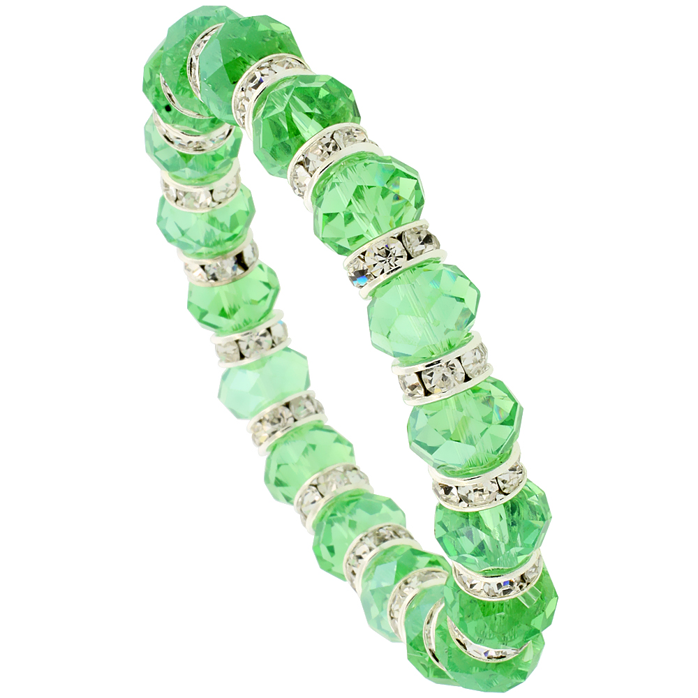 7 in. Emerald Color Faceted Glass Crystal Bracelet on Elastic Nylon Strand, 3/8 in. (10 mm) wide