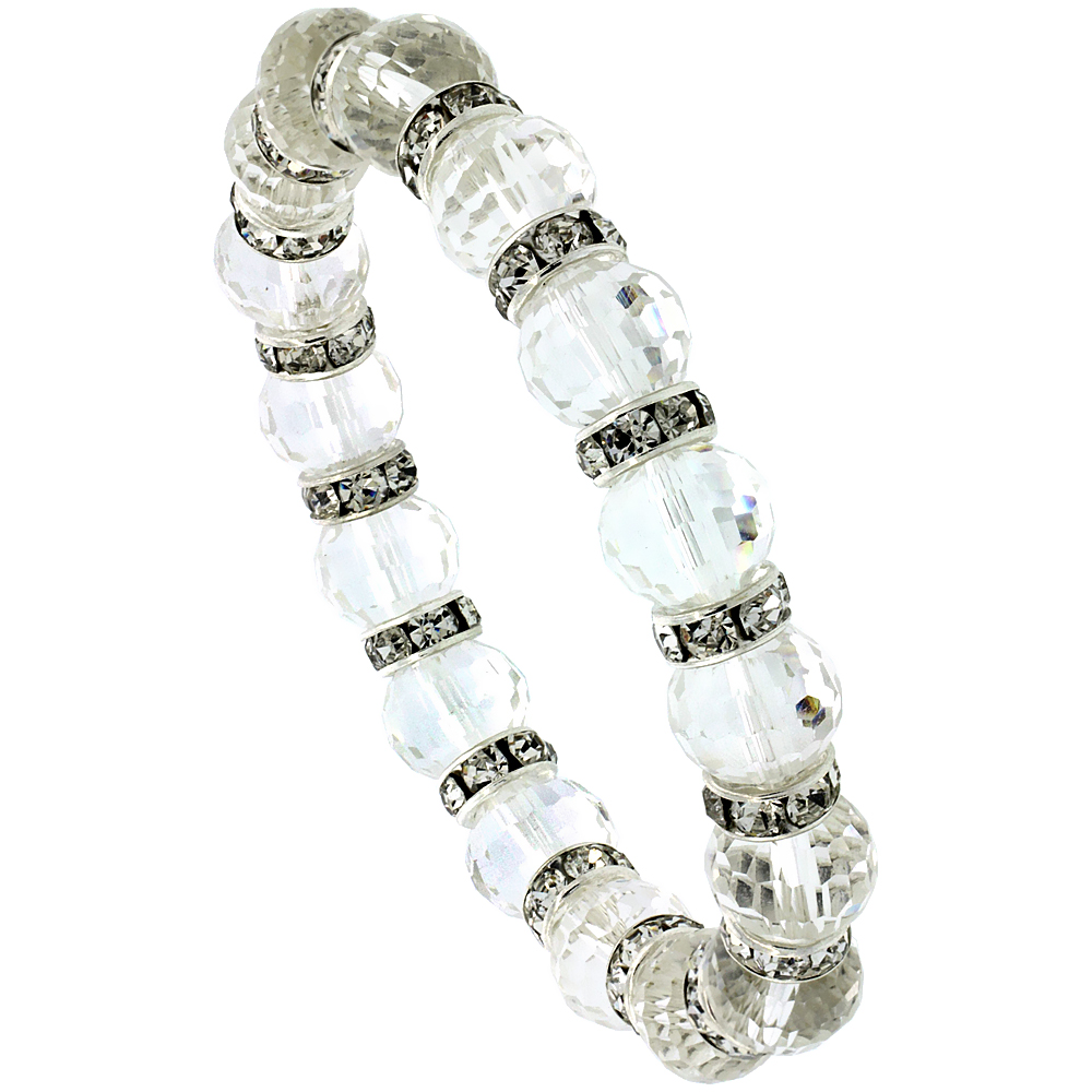 7 in. Faceted Glass Crystal Bracelet on Elastic Nylon Strand, 3/8 in. (10 mm) wide