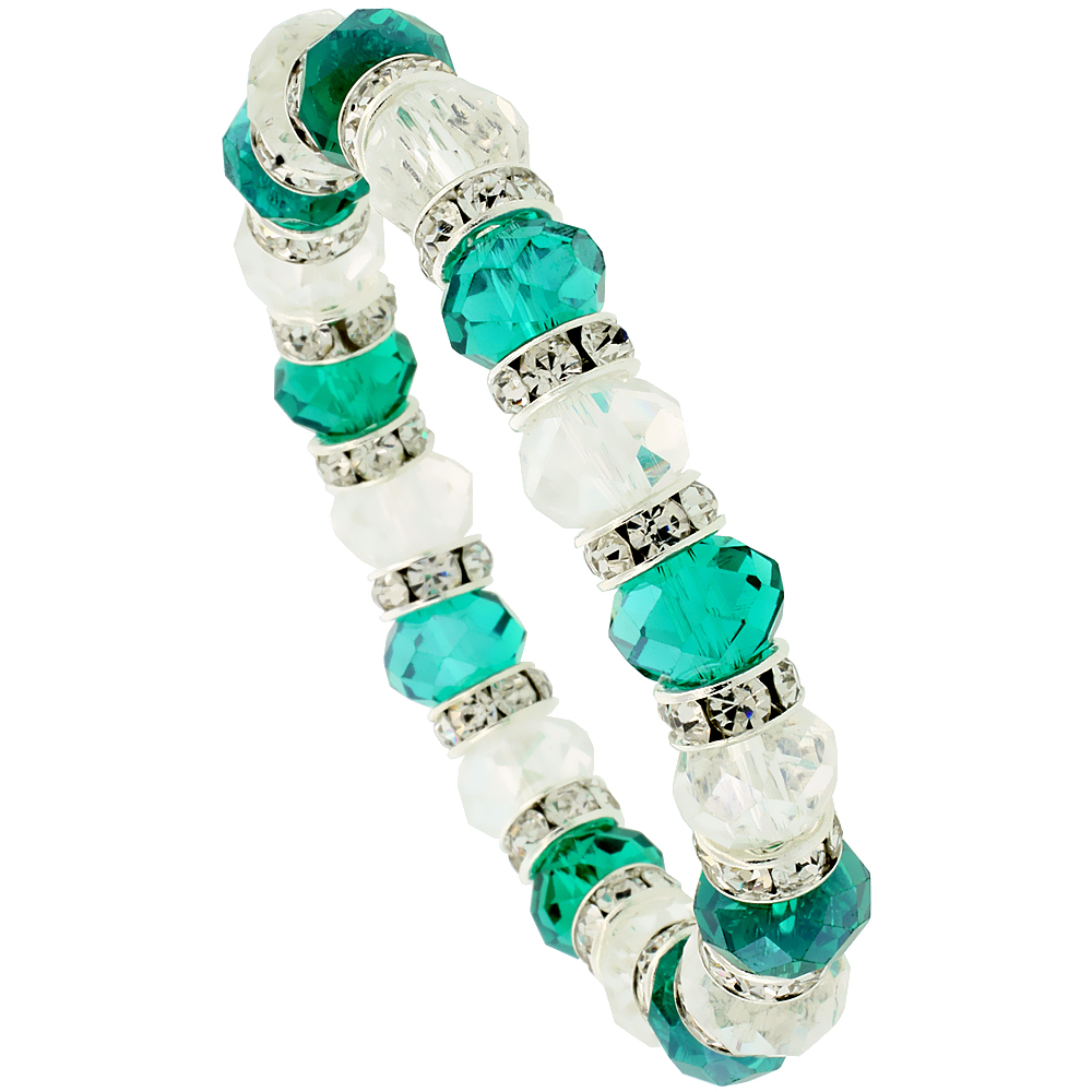 7 in. Clear & Emerald Color Faceted Glass Crystal Bracelet on Elastic Nylon Strand, 3/8 in. (10 mm) wide