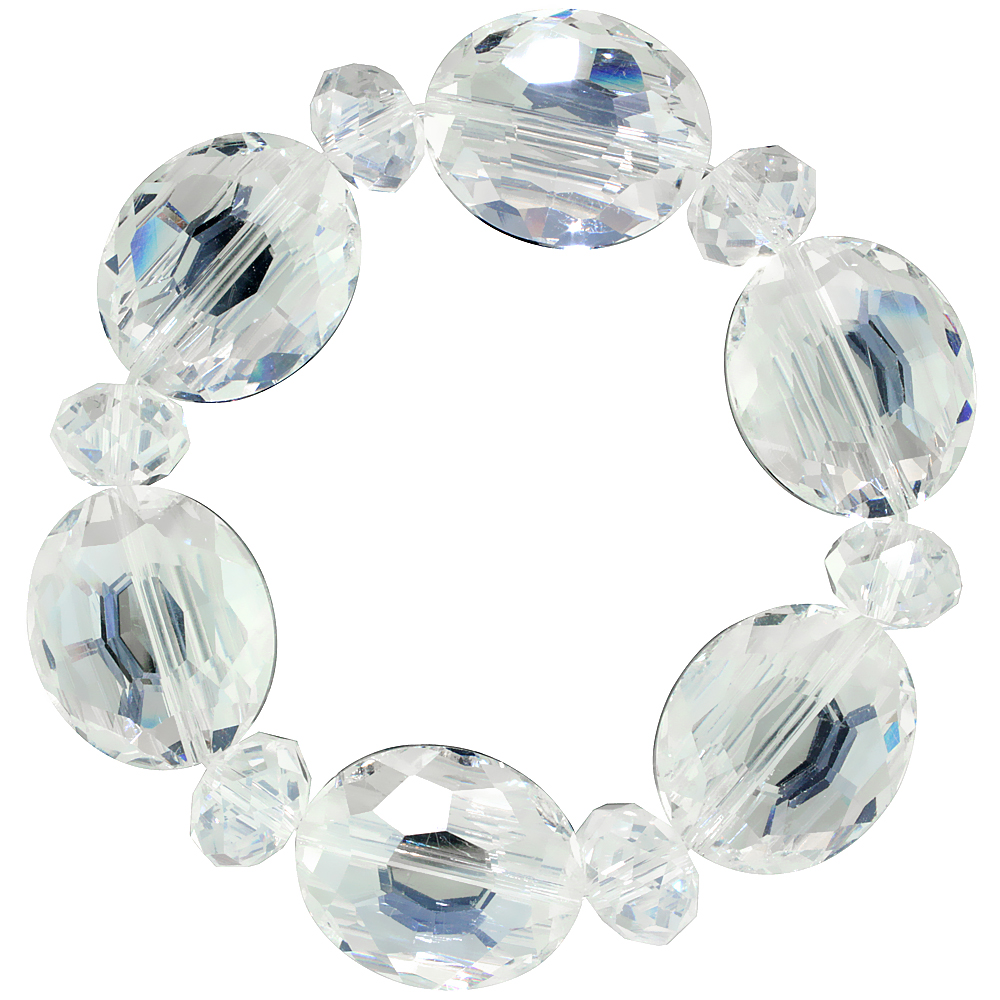 Clear Oval & Round Faceted Crystal Beads Stretch Bracelet, 7 inch long