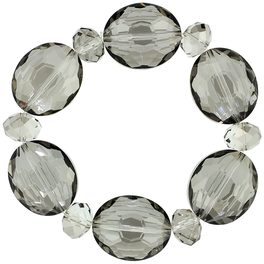 Smoky Quartz Oval & Round Faceted Crystal Beads Stretch Bracelet, 7 inch long